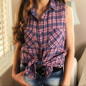 3 LEFT XS-M Patriotic July 4 CHIC Lined Plaid Top